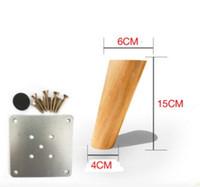 Wholesale Solid Wood Tv Cabinets - 4PCS LOT H:15CM Diameter:4-6cm Nordic Oblique Sofa Wood Legs Solid Wood TV Cabinet Table Foots
