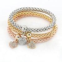 Wholesale Multi Layer Bracelet Crystals - Wholesale-3pcs set Gold Plated Crystal Charm Bracelets & Bangles Men Women Ethnic Multi-layer Square Heart Pendants Cuff Bracelet Jewelry