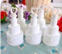 Wholesale Soap Water Bubble Bottle - Wholesale- White Wedding Empty Cake Bubble Bottles soap water bubble bottles wedding decorations 24pcs
