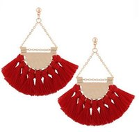Wholesale Trendy Handmade Earrings - Show Bohemia Tassels Dangle Earrings Women Accessories Cotton Handmade Fringed Earrings Ethnic Jewelry Trendy Style