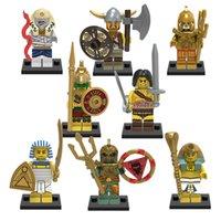 Wholesale Aztec Plastic - Building Blocks Figures Medieval Egyptian Warrior Aztec Pharaoh Atlantis Mummy Super Heroes Bricks Kids Gifts DIY Toys Hobbies 8pcs lot