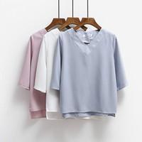 mavi şifon v boyun gömlek toptan satış-2017 Yaz Üstleri V Yaka Şifon Bluz Gömlek Kadın Ofis Bayanlar Üst İş Gömlek Giyim Kore Artı boyutu S-XL Beyaz Mavi Pembe