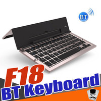 Wholesale Mini Wirless Keyboard - Luxury Aluminium Universal Wirless Keyboard Mini Bluetooth Keyboard Foldable Rechargeable F18 for Android Ios Windows Tabs ipad Smart phones