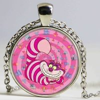 Wholesale Handmade Cats - Alice in Wonderland Cute Pink Cheshire Cat Mens chain Handmade New brass Necklace silver Pendant steampunk Jewelry Gift women