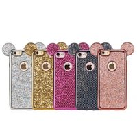 Pour iPhone7 plus cas Bling TPU pour iphone 7 6 plus Glitter Shinny Sparkling Cartoon Mouse Ear Cover