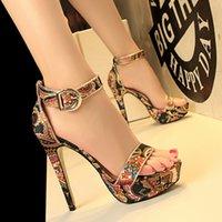 Wholesale Sandal Heels 3cm - 2017 New Women High Heel Sandals Printing Thin Heel Ankle Strap Sandals Dresses Pumps 3cm Platforms Summer Shoes Woman Sandals A002