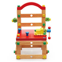 Wholesale Baby Wood Chair - Wooden Multi functional Building Chair With Tool Nut Puzzle Assembling DIY Toys Gift For Children Baby Toys