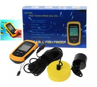 Wholesale Sonar Alarm Fish Finder Lcd - HOT! Mini Fish Finder Portable Sonar Wired LCD Fish depth Finder Alarm 100M 328ft Easy and portable High-quality!