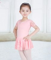 Wholesale Gymnastic Costumes - Kids ballet dance dress fashion kids Performance clothing big girls lace short sleeve Gymnastics uniforms children Dance Costume T4711