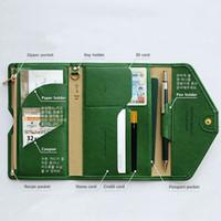ingrosso cartelle di viaggio-Portafoglio di cartella di documenti di viaggio del portafoglio del portafoglio del passaporto del cuoio dell'unità di elaborazione della cartella per la cassa del passaporto