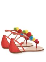Wholesale Cute Casual Shoes For Women - 2017 Cute Furry Colorful Ball Women Sandals Flat Heel Buckle Strap Flip Flops Beach Gladiator Sandal Summer Shoes Woman For Holiday