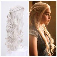 Wholesale Cosplay Girls Anime - Z&F Cosplay Wig Game of Thrones 70CM Long Daenerys Targaryen Womens High temperature Fiber Braided Long Curly Anime Wigs