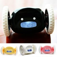Wholesale Digital Alarm Clock Wheels - Run alarm clock Digital LCD Running Creative Alarm Clock Runaway Clock with Moving Wheels Gift free shipping