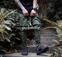Wholesale zipper hip hop harem trouser - 2017 Fashion West Pants Boost Fear Of God Men Skinny Slim Trousers hip hop Side With Zipper Casual Harem Pants Men