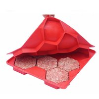 Wholesale New Hamburger Press Mold Red Silicone Meat Burger Press Maker Freezer Container Barbecue Kitchen Accessories