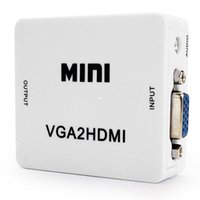 Wholesale vga converter box - Freeshiping Professional Mini HD 1080P Audio VGA To HDMI HD HDTV Video Converter Box Adapter With HDMI Cable For PC Laptop to HDTV Projector