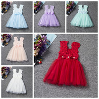 Wholesale trumpet bowknot - Baby girls summer dress pink kids dresses 2017 girl's lace tutu skirts bowknot lace dress girl 6 colors