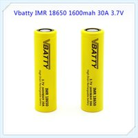 Wholesale rechargeable lithium button battery - Vbatty IMR 18650 1600mah 30A 3.7V Unprotected Lithium Ion Button Flat Top Battery 3.7v Wholesale price