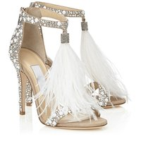 Wholesale Wedding Crystal Shoes High Sandals - High-End Bling 2017 T-Strap Wedding Shoes With Tassels Rhinestone Crystal Summer Sandals 3 Colors Women Pumps Party Prom Gowns