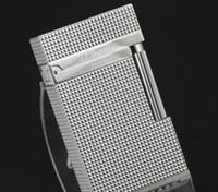 revestimiento de gas al por mayor-Encendedor de gas ST Revised Line 1 Silver Plated Pequeño diamante cabeza
