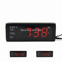 Wholesale 12v Car Thermometer - Wholesale- 3 in 1 Car Digital Clock With Voltmeter and Thermometers For 12V 24V No button cell 20 days plug out working time