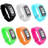 Wholesale Digital Watch Blue Lcd - Digital LCD Pedometer LED Sport Watch Run Step Walking Distance Calorie Counter Wrist Watch Bracelet Black Pink Blue Orange Green White