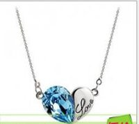 Wholesale Free Romantic Letters - Romantic Letters Love Pendant Necklace Chain Crystals Heart Charms Jewellery for Female Fashion Accessories Xmas Free Shipping Hot Sale