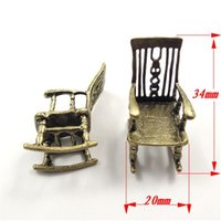 Wholesale Rock 34 - Wholesale-5PCS Pack Wholesale Antique Style Bronze Tone Alloy Jewelry Accessories Rocking Chair Charms Necklace Pendant 34*20*20mm 31846