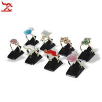 Wholesale Wood Jewelry Organizer Case - Wholesale Jewelry Display Items Black Plastic Mini Size Jewelry Ring Holder Case Ring Storage Organizer Stand 50Pcs