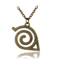 Wholesale Japan Anime Cosplay - Wholesale-2colors Japan Hot Anime cartoon Naruto: Leaf Symbol Necklace Cosplay Statement high quality pendant necklace for fans