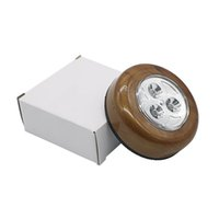 3LED toque luzes da lâmpada do teto Car Plafon Wall Gabinete Light Wood Grain rodada bateria Powered Stick Toque Luz Touch Click