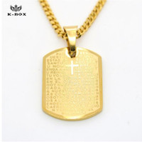 Wholesale Bible Dogs - Stainless Steel Men's Bible Scriptures Cross Lords Prayer Dog Tag Golden Pendant Necklace For Men Christian Jewelry