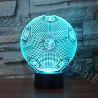 Wholesale Wholesale Football Lamps - Wholesale- 3D LED Lamp Football Shaped Nightlight 7 Colors 3D Optical Illusion Desk Table Lamp For Bedroom Decoration Factory Wholesale