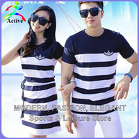 Discount wear striped shirts - Wholesale-Fashion Couple Clothes Lovers T Shirts Men Women Summer Valentine's Day Casual Beach Wear Cute Korea Matching Couple Shirts 2210