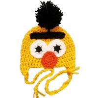 Wholesale Sesame Street Caps - Bert and Ernie Sesame Street Pompom Hat,Handmade Knit Crochet Baby Boy Girl Cartoon Earflap Hat,Winter Cap,Toddler Photo Prop