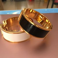 Wholesale 18mm Wristband - 18MM Luxury Stainless Steel Cuff Bracelets&Bangles Wristband Enamel Bangle H Buckle Classic Brand Bracelets for women