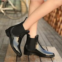 Wholesale Trendy Slip Shoes - Rubber Boots 2017 Waterproof Trendy Jelly Women Ankle Rain Boot Elastic Band Solid Color Rainy Shoes Women S74