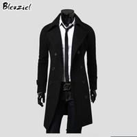 overcoat design toptan satış-Toptan- 2016 kış rahat erkek palto özel teklif toptan benzersiz ince giyim uzun tasarım çift göğüslü yün ceket