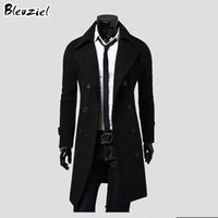 Wholesale worsted wool coat double breasted - Wholesale- 2016 Winter Casual Men'S Overcoat Special Offer Wholesale Unique Slim Outerwear Long Design Double Breasted Wool Coat