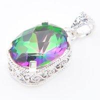 Wholesale Rainbow Vintage Charm - HUGO 2PCS Lot Holiday Jewelry Gift Square Vintage Rainbow Mystic Topaz Gems 925 Silver Pendant Necklace P0885