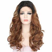 Wholesale Long Curly Beautiful Wigs - Quality long curly gradually change color synthetic hair lace front wig for beautiful women 150%density