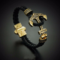 black gold cuff - BC Atolyestone Emperor Bead Bracelet Gold Bracelets Anchor Leather Cuff Bracelets Bangles Men Women Mujer Pulseras