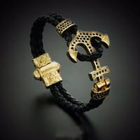 Wholesale Black Leather Gold Chain Bracelet - BC Atolyestone Emperor Bead Bracelet Gold Bracelets Anchor Leather Cuff Bracelets & Bangles Men Women Mujer Pulseras