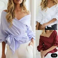 Wholesale Women Sexy Wrapping Bow - 2017 New Women Ruched sleeve wrap blouse shirt Women casual blouse Sexy off shoulder shirt top V neck female blusas bow tie