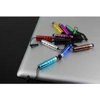 lápiz táctil de la tapa del lápiz al por mayor-Colorido de aluminio tubo corto Stylus Pen para pantalla táctil Capacitiva PDA portátil móvil teléfono celular inteligente w / 3.5mm tapa de protección envío gratis