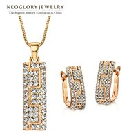 Wholesale Rose Gold Costume Jewelry Sets - MADE WITH SWAROVSKI ELEMENTS Rhinestone Rose Gold Plated African Costume Neoglory Jewelry Set 2017 New for Women Bohemian Brand Gift GO G1