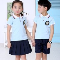 Wholesale European Women T Shirts - 2 pieces 2017 new summer children's wear short-sleeved suit European and American boys T-shirt shorts women short skirts fashion casual