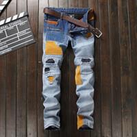 Wholesale Spliced Jeans - Wholesale- Newly 2017 Ripped Jeans For Men European American Designer Men Jeans Spliced Patchwork Pants Punk Blue Straight Biker Jeans Men