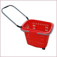 rote zuggriffe großhandel-Rollhandkorb Einziehbarer Ziehgriffkorb, mittlerer Supermarktkorb Dunkelblau und Rot 10 Körbe / Kartongröße: 560 * 390 * 440mm