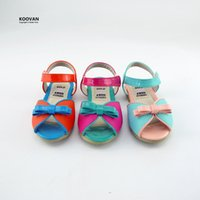 Wholesale Muscle Beach - Koovan Children Sandals 2017 Summer Korean Version Of Leather Bow Girls Sandals Princess Shoes Children's Flats Beach Shoes Butterfly knot